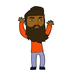 Comic cartoon bearded man waving arms vector