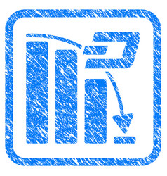 dash falling acceleration chart framed stamp vector image