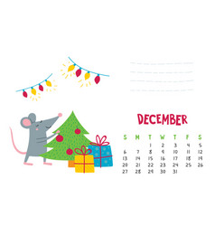 december calendar page with cute christmas vector image