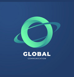 Digital global communication logo template vector