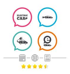 Electric car sign sedan and hatchback transport vector