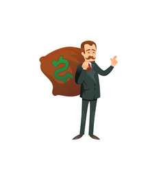 Entrepreneur character with sack of money vector