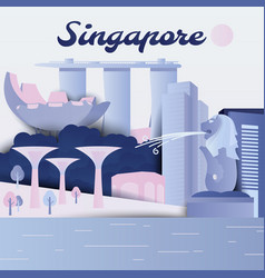 famous places in republic singapore vector image