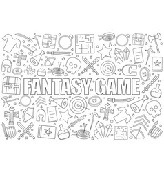 fantasy game from line icon with word vector image