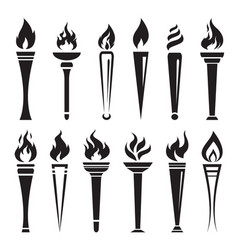 Fire torch victory champion on white background vector