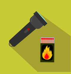 Flashlight and matches for hunting flat cartoon vector