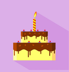 flat design birthday cake icon vector image