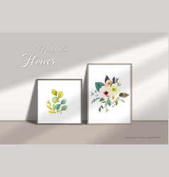 floral bouquets elements watercolor hand-painted vector image