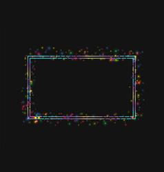 Frame in a frame colored lights on black vector