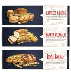 Fresh bread and bakery products posters vector