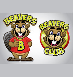 Funny cartoon of young beaver vector