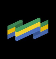Gabon flag ribbon isolated gabonese republic tape vector