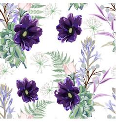 garden violet anemone flower pattern vector image