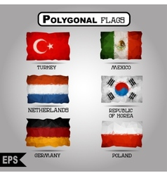 geometric polygonal world flag collection vector image