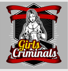 girls criminals women handling gun hand vector image