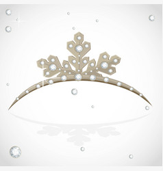 Gold crown tiara snowflake shaped for christmas vector