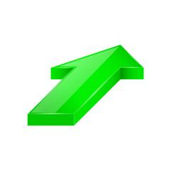 green arrow 3d up diagonal icon vector image