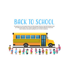 group pupils children over yellow school bus vector image
