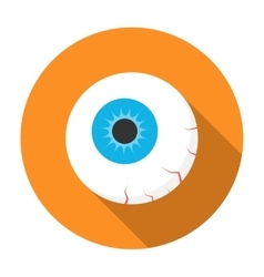 Halloween eyeball icon flat vector