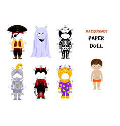 Halloween paper doll cartoon vector image