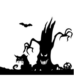 Halloween partysilhouette of an evil tree and a vector