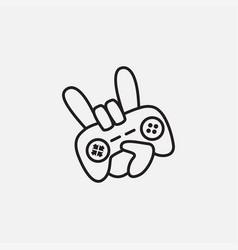 Hand rock game with joystick game pad logo design vector