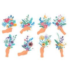 hands holding bouquets colorful floral bundle vector image