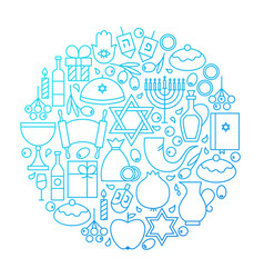 Hanukkah line icon circle design vector