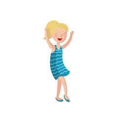 happy smiling girl dancing cartoon vector image