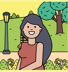 Happy young woman in landscape vector