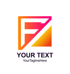 initial letter f logo template colorfull square vector image