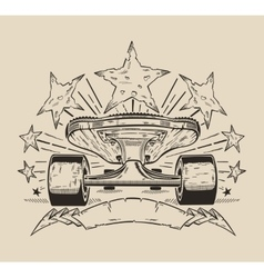 It is a of skateboard with stars vector image vector image