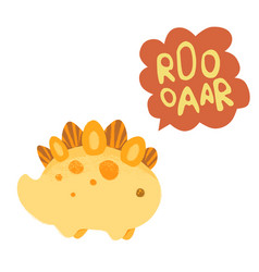kawaii dinosaur and lettering roooaar vector image