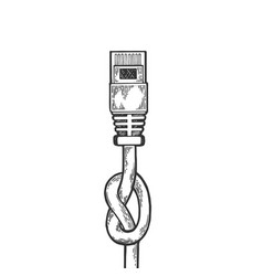 knotted internet cable sketch engraving vector image