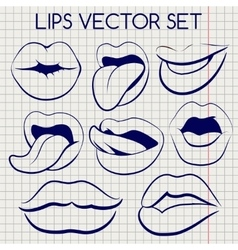 Lips silhouettes ball pen icons vector