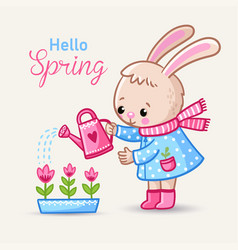 Little rabbit watering flowers in boots in spring vector