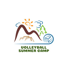 logo volleyball summar camp fun cartoon logo vector image