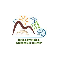 Logo volleyball summar camp fun cartoon vector