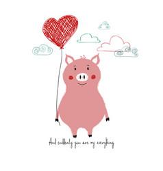 Lovely piggy holding heart balloon vector