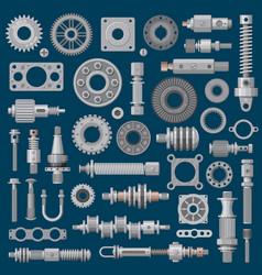 Machinery parts icons machine engine mechanisms vector