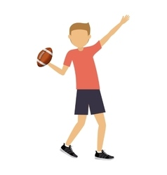male athlete practicing american football isolated vector image