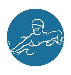 Man silhouette swimmer athlete vector