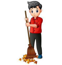 Man with a broom sweeps away fallen leaves vector