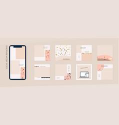 Marble terrazzo instagram template vector