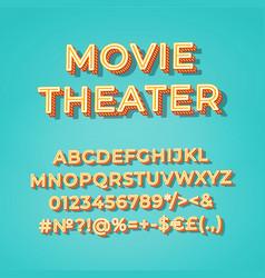 movie theater vintage 3d alphabet set vector image