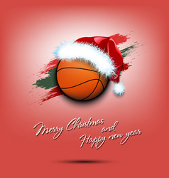 new year and basketball ball in santa hat vector image