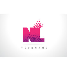 Nl n l letter logo with pink purple color and vector