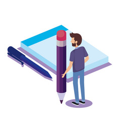 notebook and pen with man isometric vector image