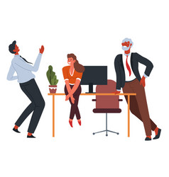 office workers at coffee break laughing and vector image