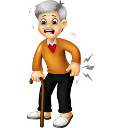 Old grandpa with wood stick cartoon vector